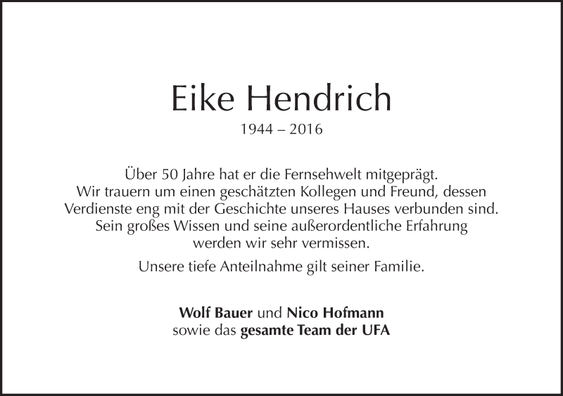 Eike Hendrich Gestorben